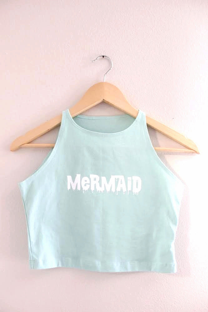Mint Green Drippy Mermaid Halter Crop Tank