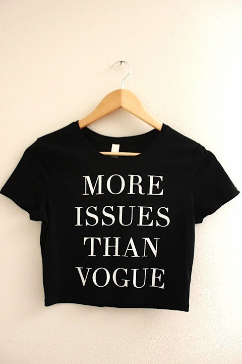 More Issues Than Vogue Black Graphic Crop Top