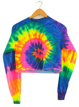 Neon Rainbow Tie-Dye Cropped Long Sleeve Unisex Tee