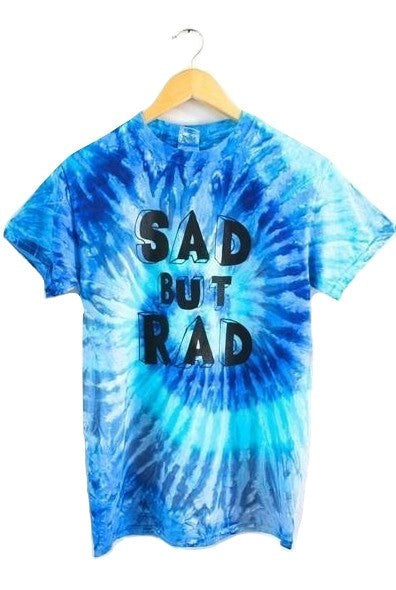 Sad But Rad Blue Tie-Dye Graphic Unisex Tee