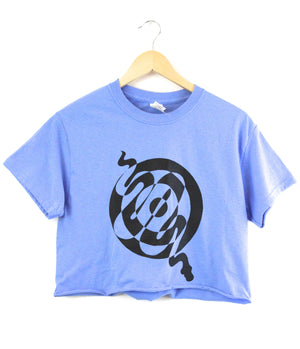 Snake Spiral Blue Graphic Cropped Unisex Tee