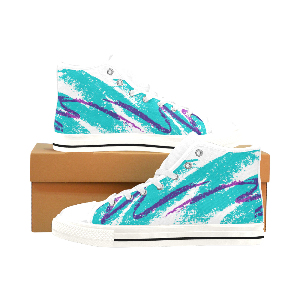 US14 / WHITE 90's Jazz : High-Top Shoes | | Vaporwave Fashion - An Aesthetic Clothing Brand | Shop