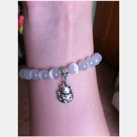 Natural Beads Kitty Bracelet