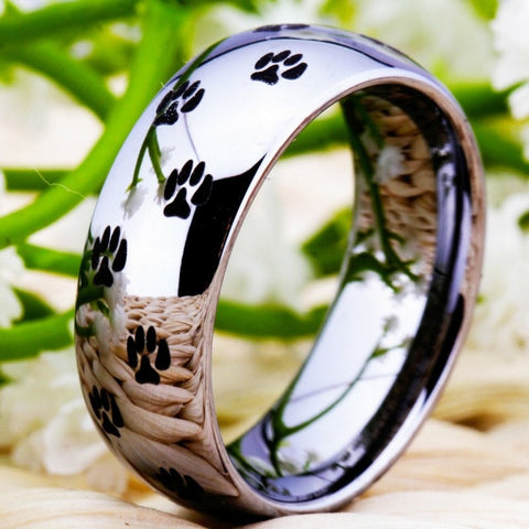 Pure Tungsten Carbide Ring with Paw Print (Silver)