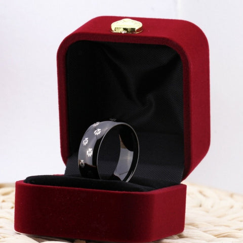 Pure Tungsten Carbide Ring with Paw Print (Black)