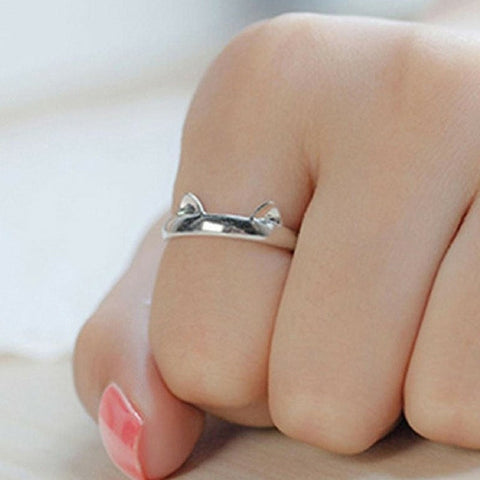 Silver Paws and Ears Cat Ring