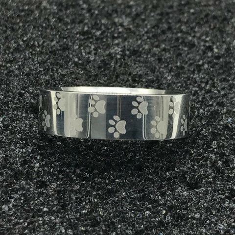 Stainless Steel Memorial Ring with Paw Print