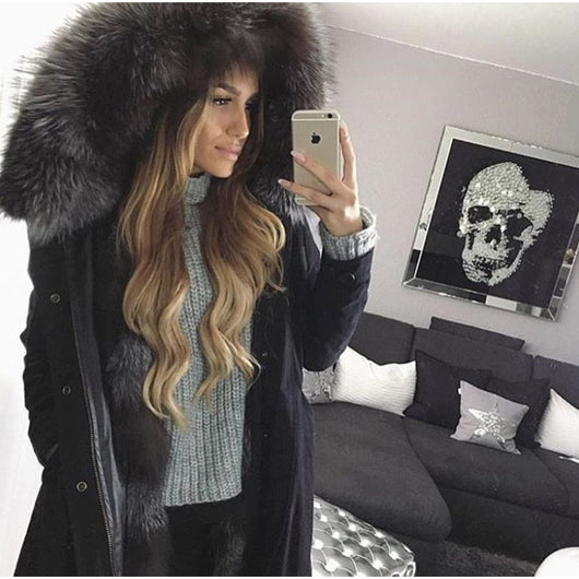 30fcfaa9fcc8 ... Silver Fox Fur Black Parka ...