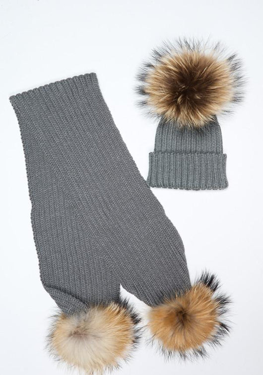 Dark Grey Pomkin Double Pom Hat Scarf Set 608fe42f595