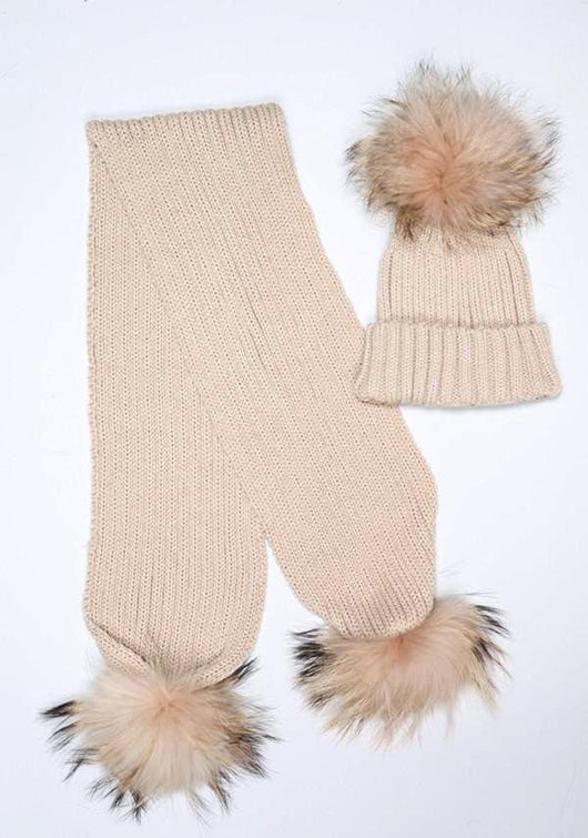 31805492 Kids Beige Pomkin Hat + Scarf Set
