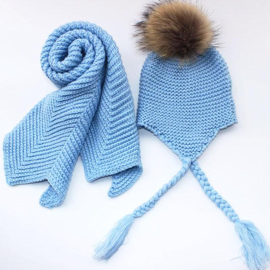 b0c8e1678a0 Kids Icy Blue Fur Pom Crochet Hat + Scarf Set – Pomkin