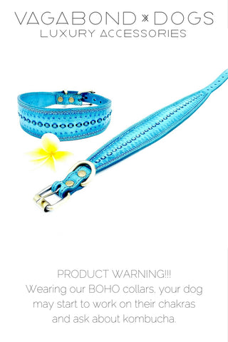 Boho bohemian custom leather dog collars.   Your dog will start to ask about their chakras and start to drink kombucha.