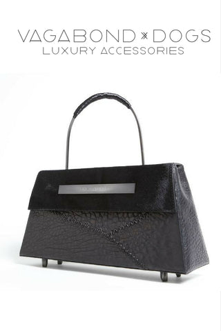 Eccentric leather dog accessories and custom luxury handbags.  Vagabond-Dogs.com