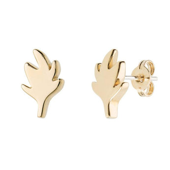 18 carat gold Solo Uno studs/earrings, leaf design