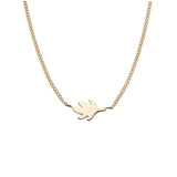 18 carat gold Solo Uno necklace, fine chain, leaf design