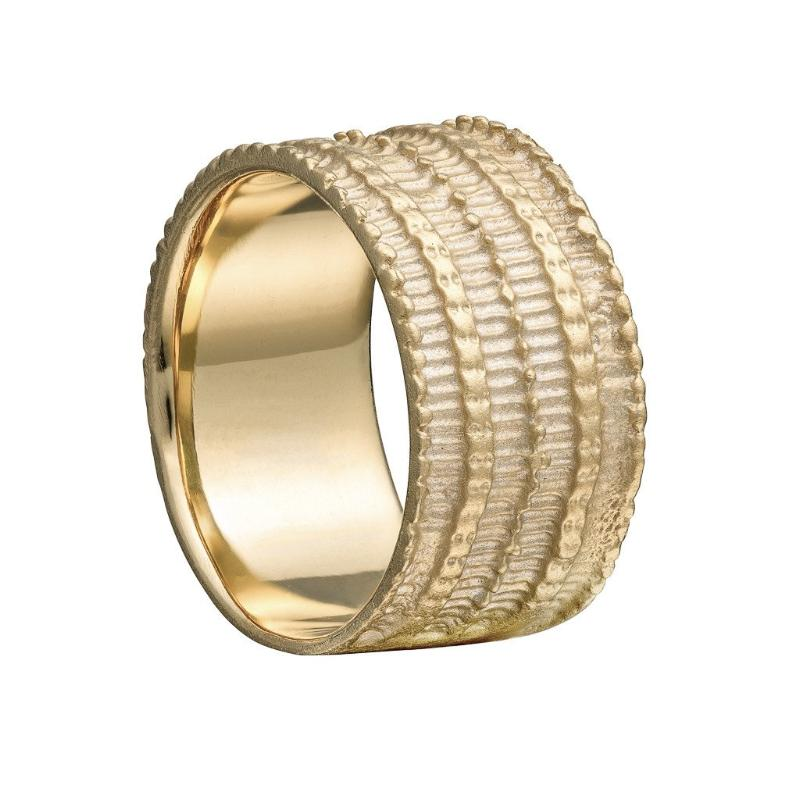 9 carat gold Textura ring, textured ring