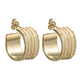 18 carat gold Textura earrings, textured hoops