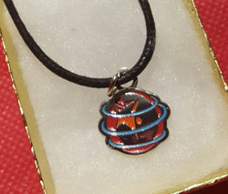 Unique WSC metal painted charm with leather necklace