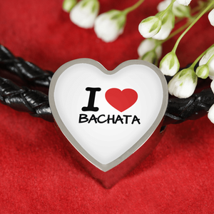 I love Bachata Woven Double-Braided Real-Leather Charm Bracele - World Salsa Championships