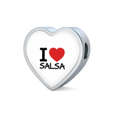 I love Salsa Woven Double-Braided Real-Leather Charm Bracelet - World Salsa Championships