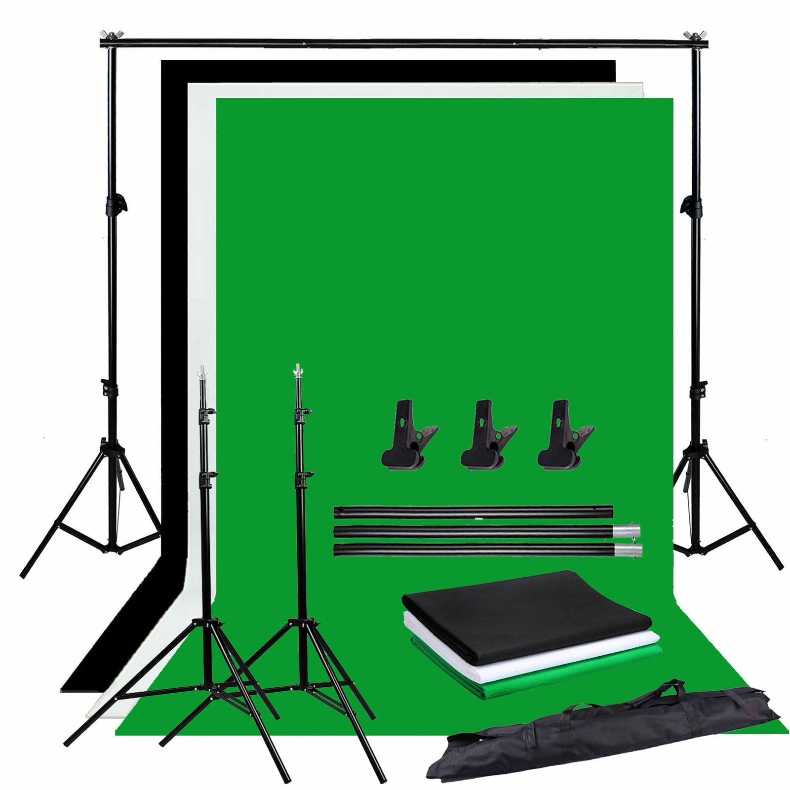 Photo Studio Backdrop Chroma Key Black White Green Screen Background Stand Kit With 2M Studio Backdrop Support Kit