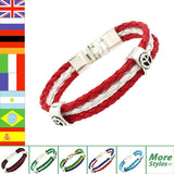 World Cup National Flags Sports 3 Strands Rope Braided Surfer Leather Bracelets Fashion Men/Women Jewelry Bracelets