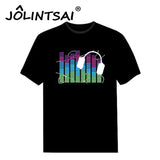 Black Sound Activated Unisex O-neck T Shirt Men Light Up Flash Equalizer EL LED T-Shirt Short Sleeve for Rock Disco Party DJ - World Salsa Championships