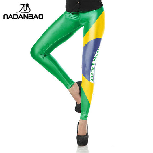 NADANBAO New Arrival Spring Summer Brazil Flag Legins Fashion  Leggins Printed Women Leggings Sexy Woman Pants