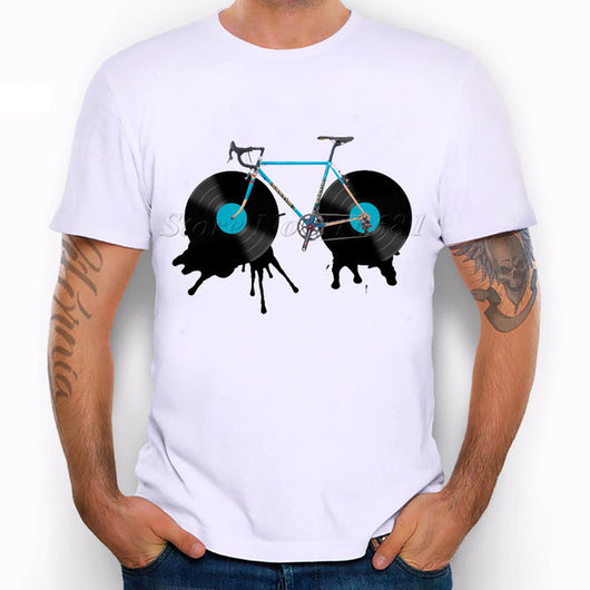 New Arrival Vinyl Records Bicycle Vintage Printed Cool Men's Casual T-shirt - world-salsa-championships
