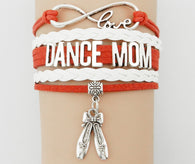 Infinity Love Dance Mom Bracelet- Red with White Leather Strap Hobbies Multilayer Wristband - World Salsa Championships