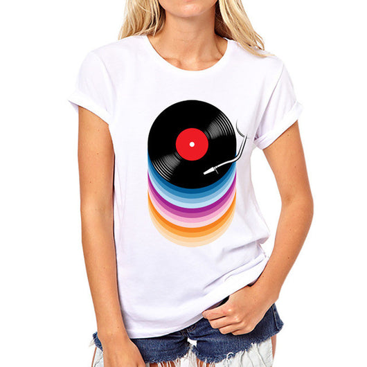 DJ Collection-TEEHEART  Women Summer Novelty Rainbow Colors Vinyl Records Design T shirt women fashion Tops Hipster Tee PX726 - World Salsa Championships