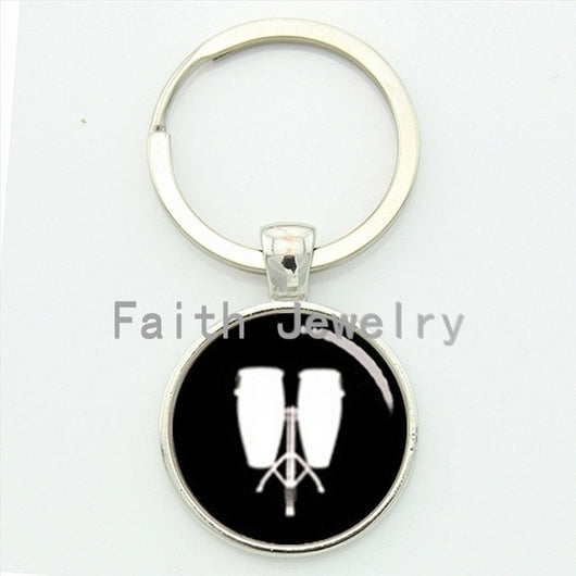 Retro low conga key chain pop musical instrument Drums tambourine profile silhouette keychain DJ Mixer Musician gift KC447