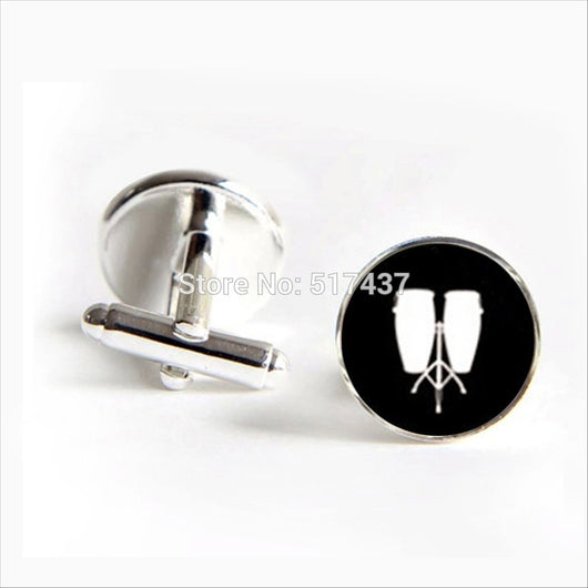 Low Conga Cufflinks Musical Instrument Cuff link Men Cufflinks High Quality Drums Cuff - world-salsa-championships