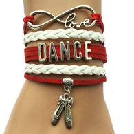 Infinity Love Dance Bracelet- Girl's Belly Dance Shoes Leather Multilayer Charm Bracelet  Bangles - World Salsa Championships