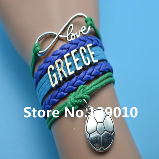Infinity Love Greece Charm Wrap Bracelet Dark Blue Green Leather Suede Rope Cuff Customize Women Men Football Team Sport Bangles