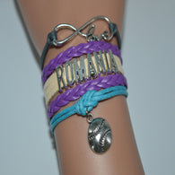 Infinity Love Romania Baseball Bracelets Purple Beige Gray Blue Leather Suede Rope Customize Women Football Team Sports Bangles - World Salsa Championships