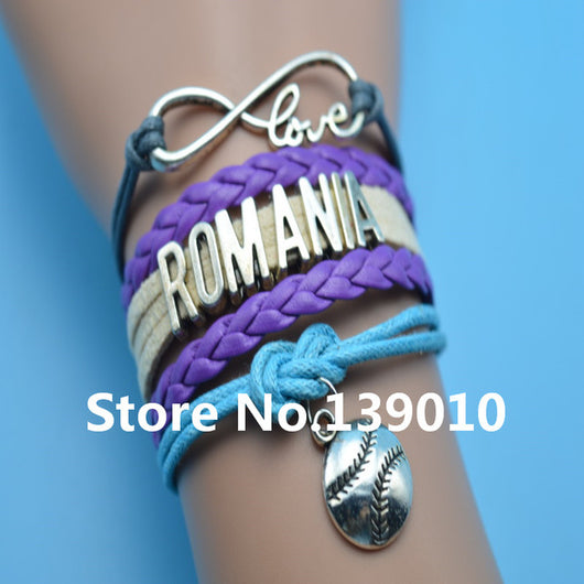 Infinity Love Romania Baseball Bracelets Purple Beige Gray Blue Leather Suede Rope Customize Women Football Team Sports Bangles - world-salsa-championships