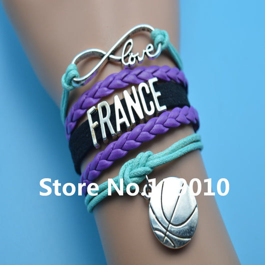 Infinity Love France Basketball Bracelets Purple Black Blue Leather Suede Rope Customize Women Men Football Team Sports Bangles - world-salsa-championships