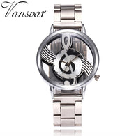 New Vansvar Brand Fashion Hollow Music Note Notation Watch Stainless Steel Quartz Wristwatch For Men Women Silver Mesh Watches - World Salsa Championships