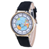 Fashion Women's World Map Cowboy Band Analog Quartz Wrist Watch - World Salsa Championships