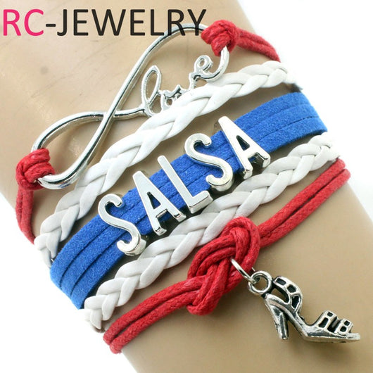 Infinity Love Salsa Bracelets Highheels Charm Handmade Rope Leather Weave Bangles For Women Men Jewelry Custom - world-salsa-championships