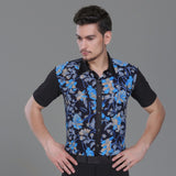 Male Latino Dancing Shirts 3 Colors Flower Print Short Sleeves Shirt  Chacha Salsa Professional Men Ballroom Dance Clothes 7040 - world-salsa-championships
