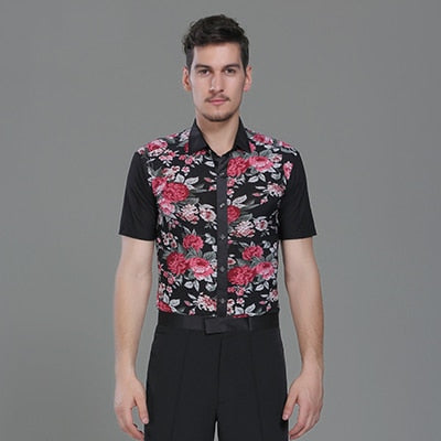 Male Latino Dancing Shirts 3 Colors Flower Print Short Sleeves Shirt  Chacha Salsa Professional Men Ballroom Dance Clothes 7040 - World Salsa Championships