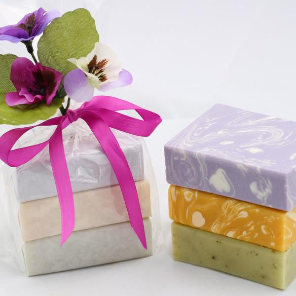 Handmade Bar Soap Gift Set, Organic & All Natural -  3 Full Size Bars (Set 1)
