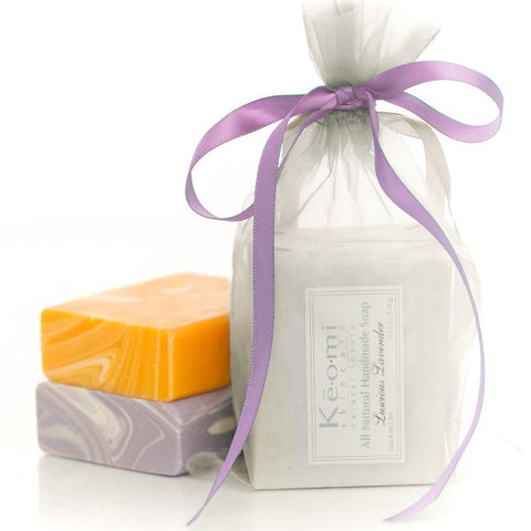Organic Handmade Soap Gift Set - All Natural - 2 Full Size Bars - Golden Crown and Luscious Lavender