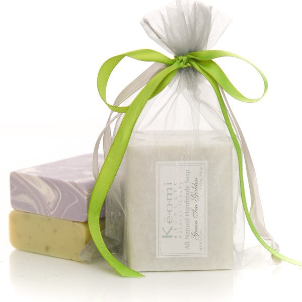 Organic Handmade Soap Gift Set - All Natural - 2 Full Size Bars - Green Tea Goddess and Luscious Lavender