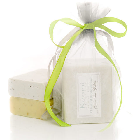 Organic Handmade Soap Gift Set - All Natural - 2 Full Size Bars - Green Tea Goddess and Sea Breeze