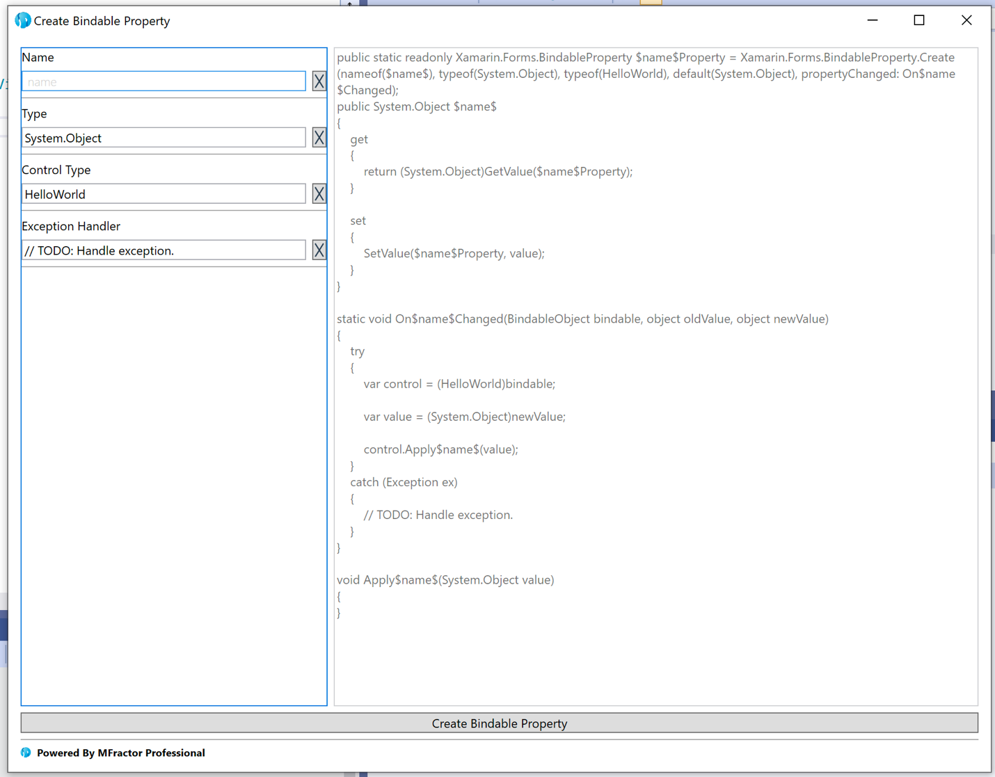 Using MFractors bindable property wizard to create a new Xamarin.Forms bindable property