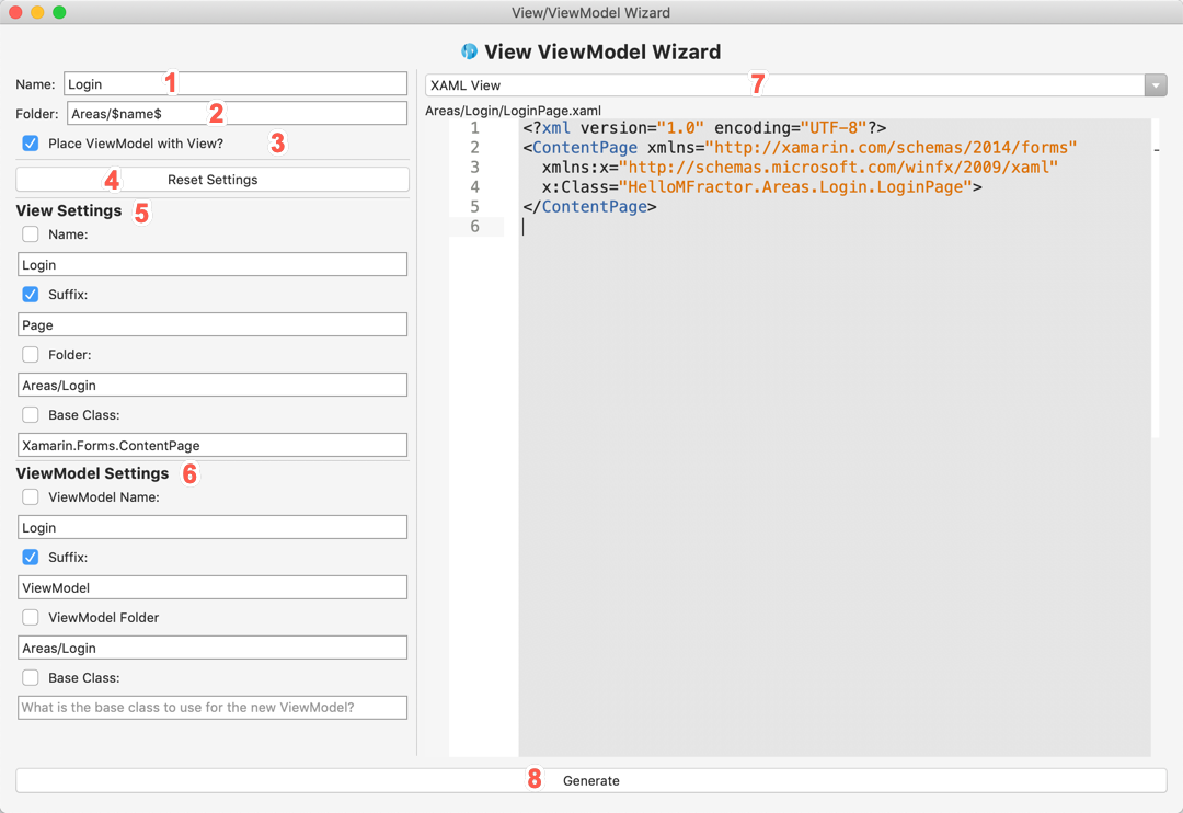 An overview of the MVVM Wizard.