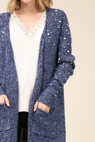Pearl Detail Heathered Knit Cardigan
